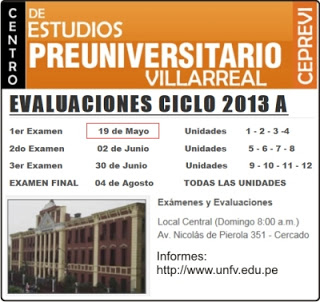 Ingresantes examen CEPREVI VILLARREAL 2013-A Examen Universidad Nacional Federico Villarreal 19 de Mayo